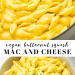 Pinterest collage of butternut squash mac and cheese with text
