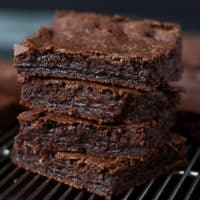 square image of brownies in a stack