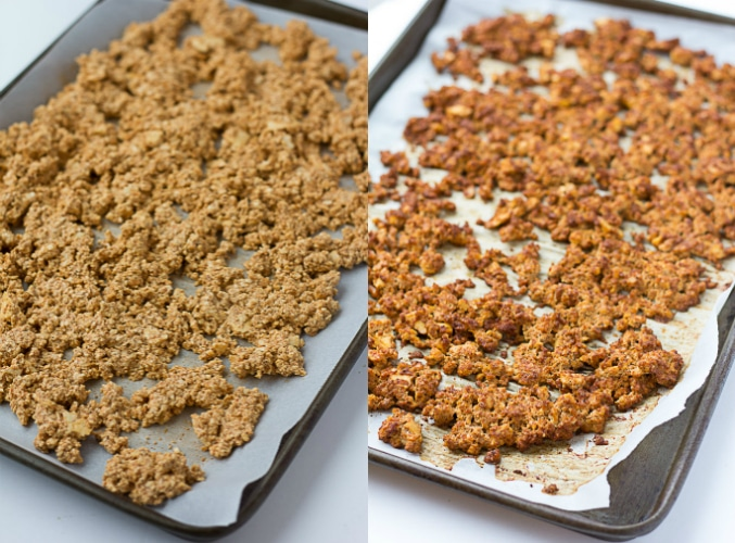tofu crumbles being baked, before and after.
