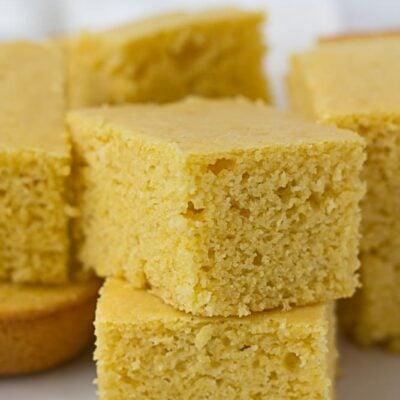 Cut up squares of vegan cornbread