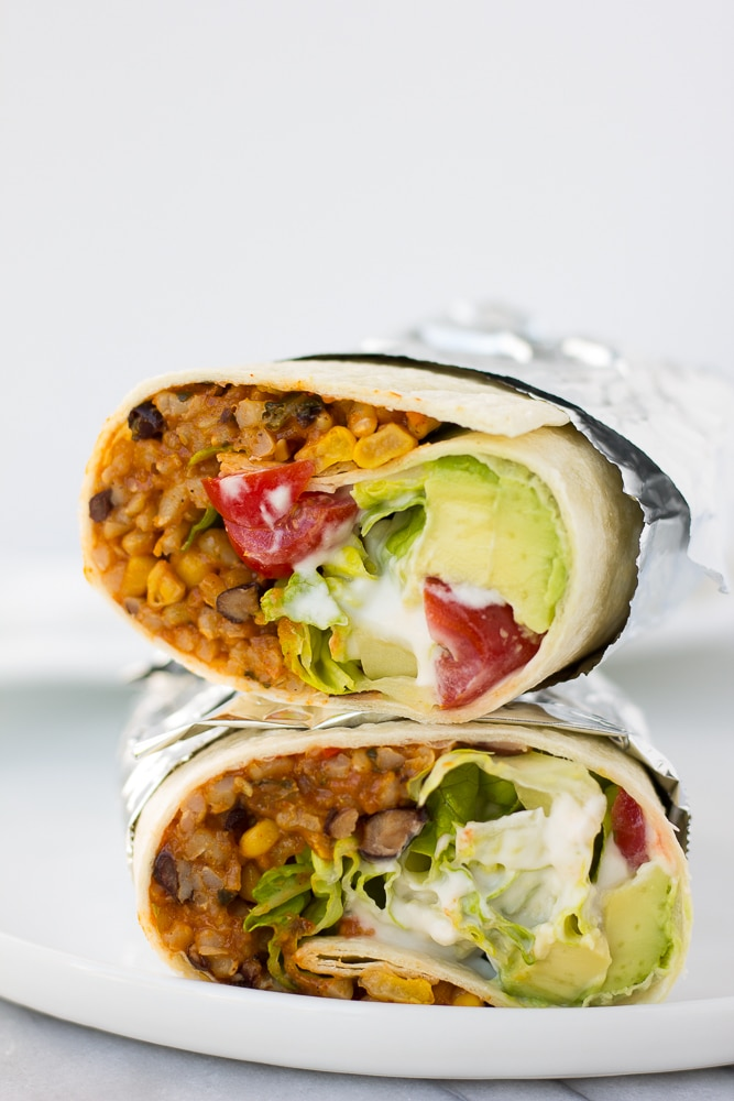 instant pot vegan burrito wrapped in foil