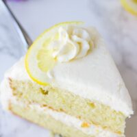 piece of double layer lemon cake