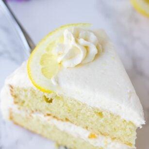 piece of double layer lemon cake