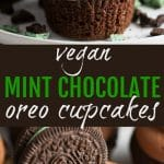pinterest collage of mint oreo cupcakes
