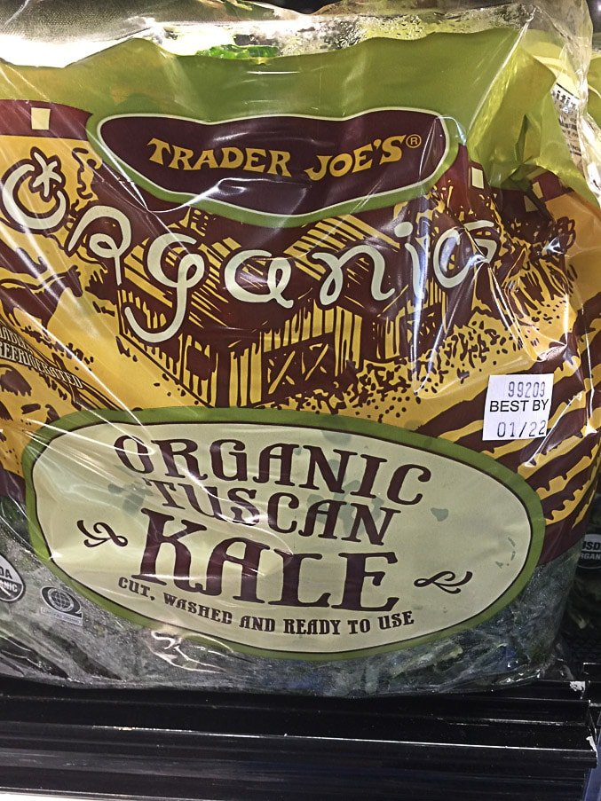 bag of packaged kale