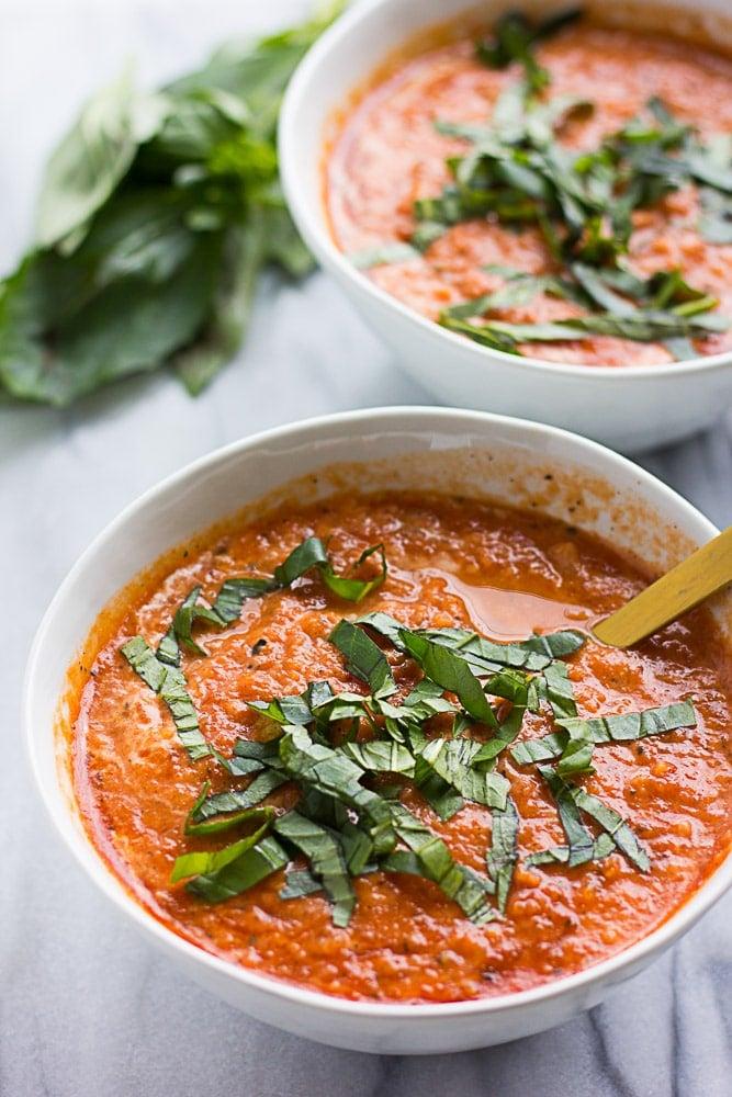 2 bowls vegan tomato soup