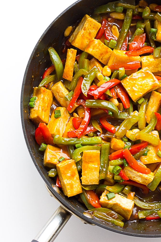 kung pao tofu and vegetables in large pan