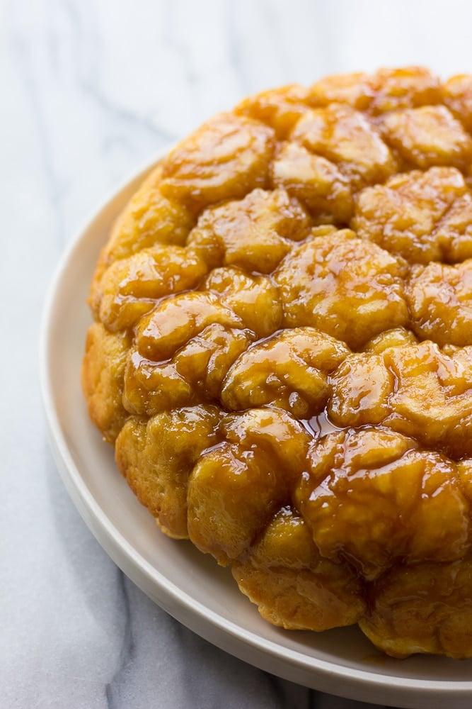 caramel monkey bread on a plate