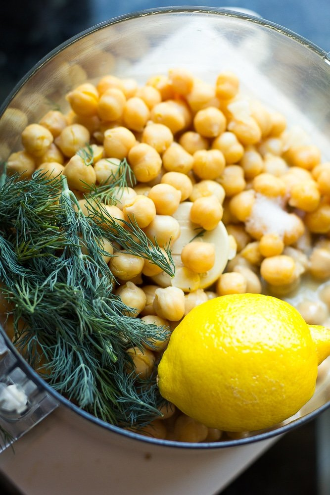 lemon dill hummus ingredients in food processor