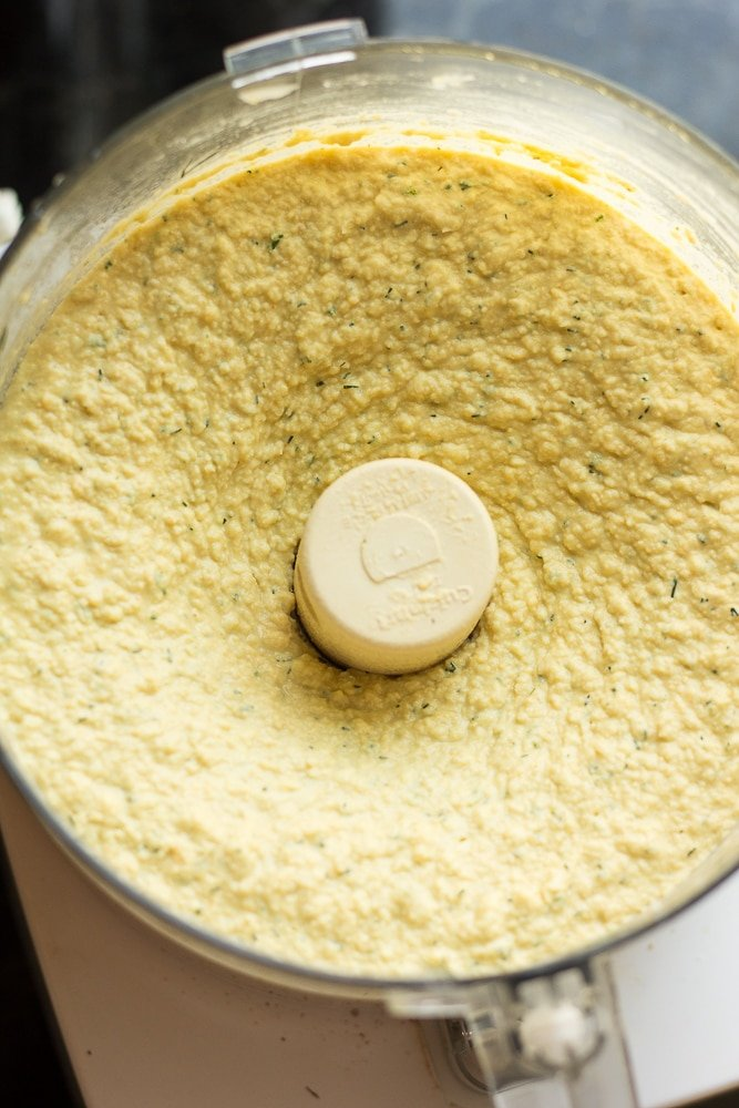 lemon dill hummus blended in food processor