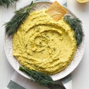 lemon dill hummus on a plate