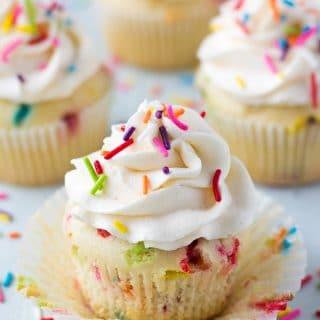 funfetti vegan cupcakes on a board