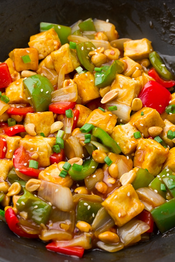 close up of kung pao tofu in a pan