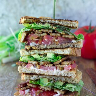 stack of vegan blt sandwiches