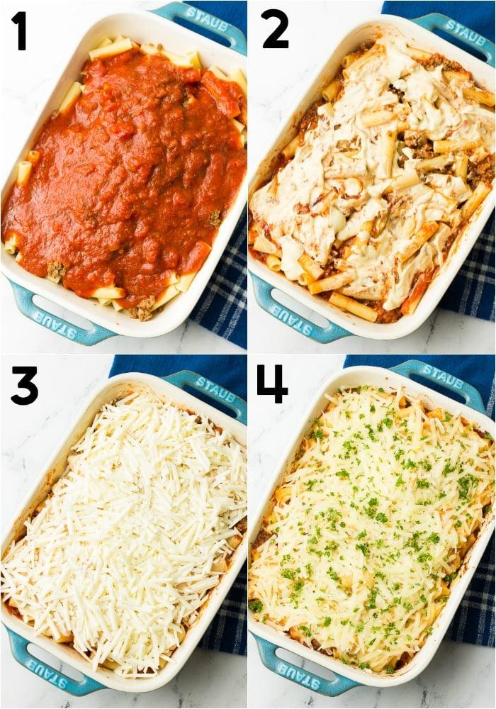 collage of how to make vegan baked ziti