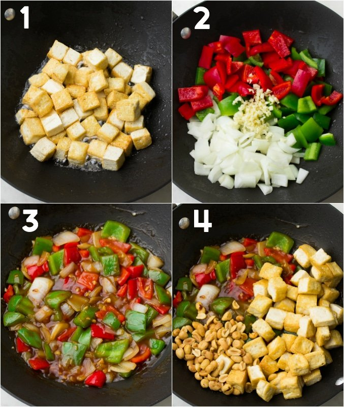 collage of how to make kung pao tofu, step by step in a pan