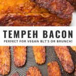 Pinterest collage of tempeh bacon with text
