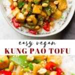 Pinterest collage of kung pao tofu with text