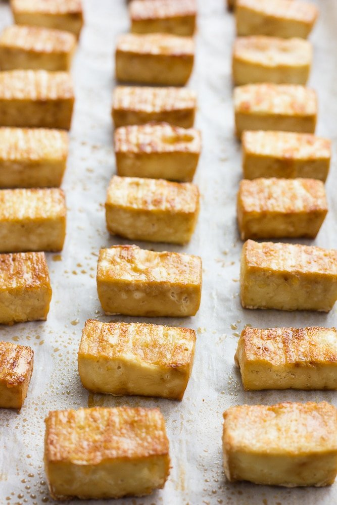 crispy baked tofu, done for peanut tofu