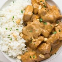 plate with peanut tofu and coconut rice