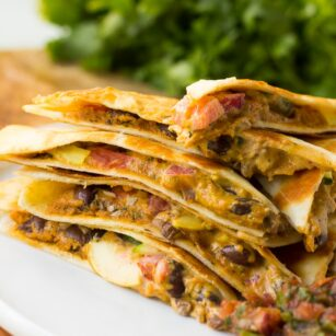 vegan quesadillas stacked