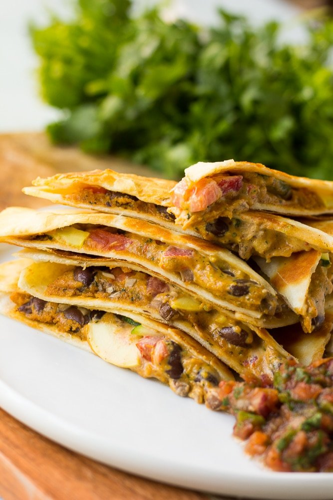 Cheesy Vegan Quesadillas With Black Beans And Vegetables Nora Cooks