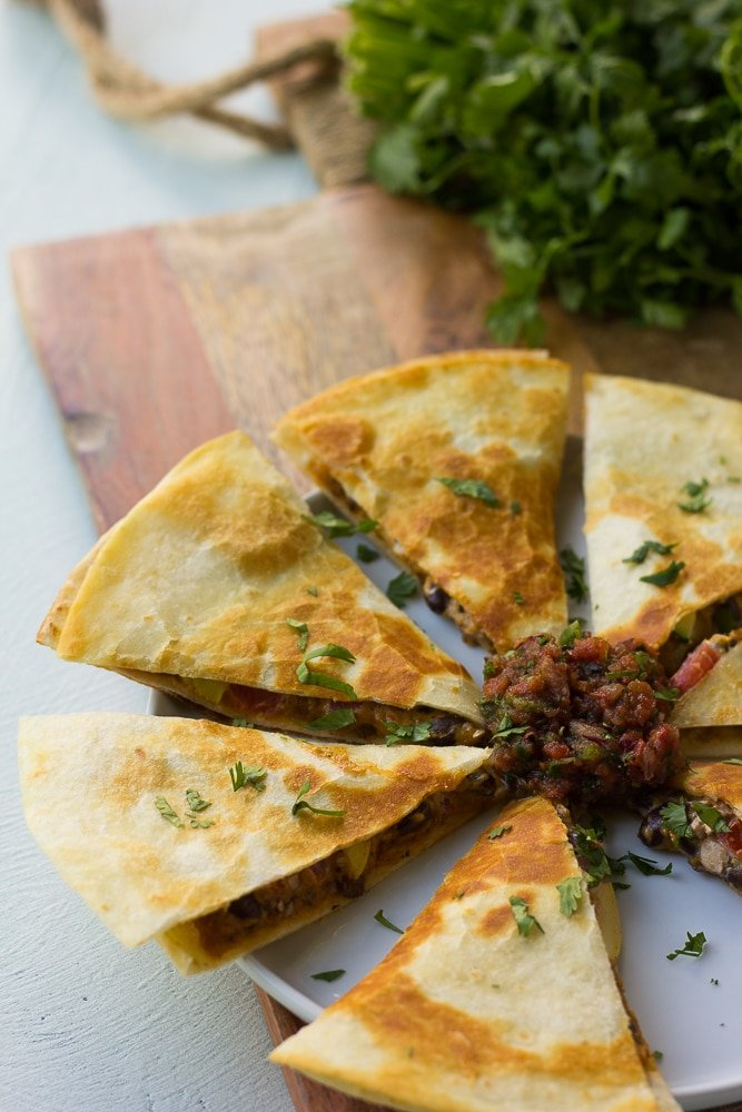 vegan quesadillas cut up