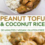pinterest collage of peanut tofu