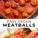 pinterest collage of easy vegan meatballs with text