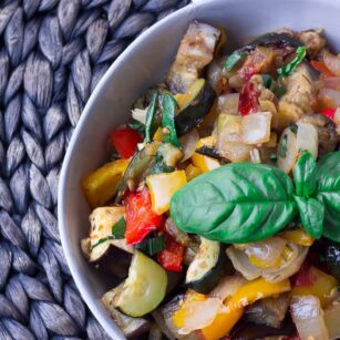 roasted ratatouille in a bowl close