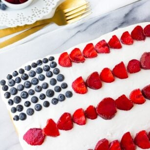vegan flag cake from top