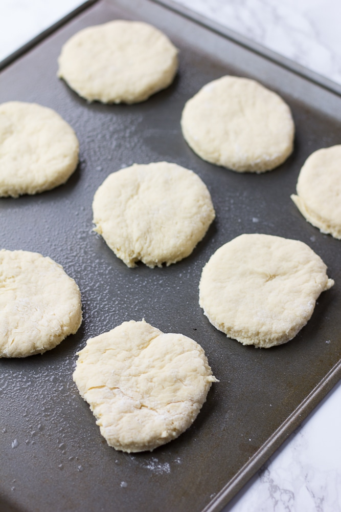 biscuits on baking pan