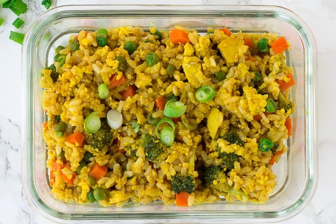 1 container close up of vegan fried rice meal prep
