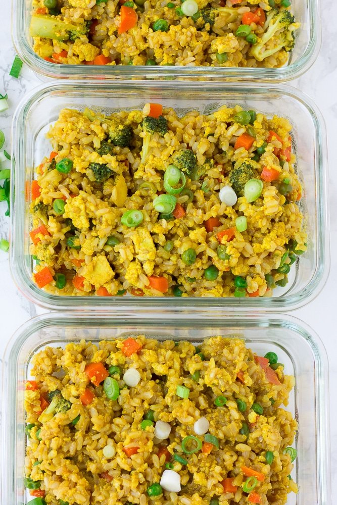 2-3 containers of vegan fried rice meal prep