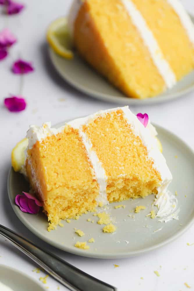 cut piece of cake showing fluffy yellow texture