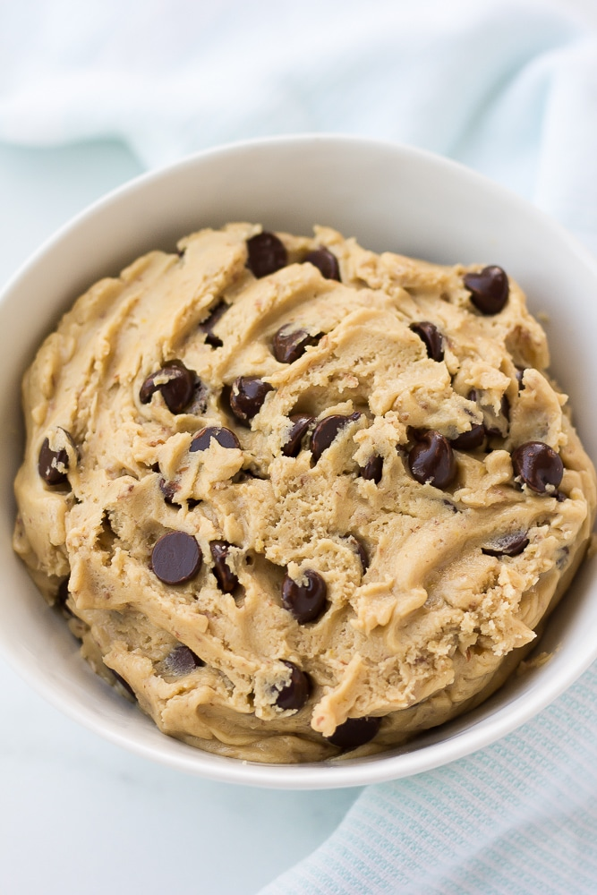 cookie dough in a bowl with chocolate chips