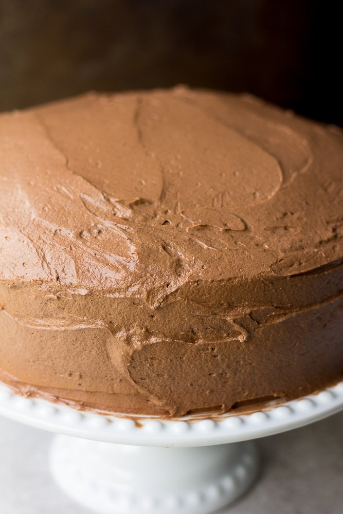 vegan chocolate cake frosted close up