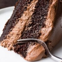 slice of vegan chocolate cake with a fork taking a bite.