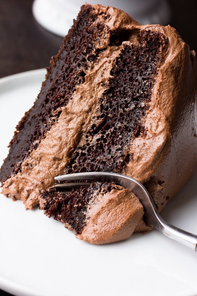Slice Of Vegan Chocolate Cake With A Fork Taking Bite