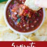 pinterest image of restaurant style salsa.