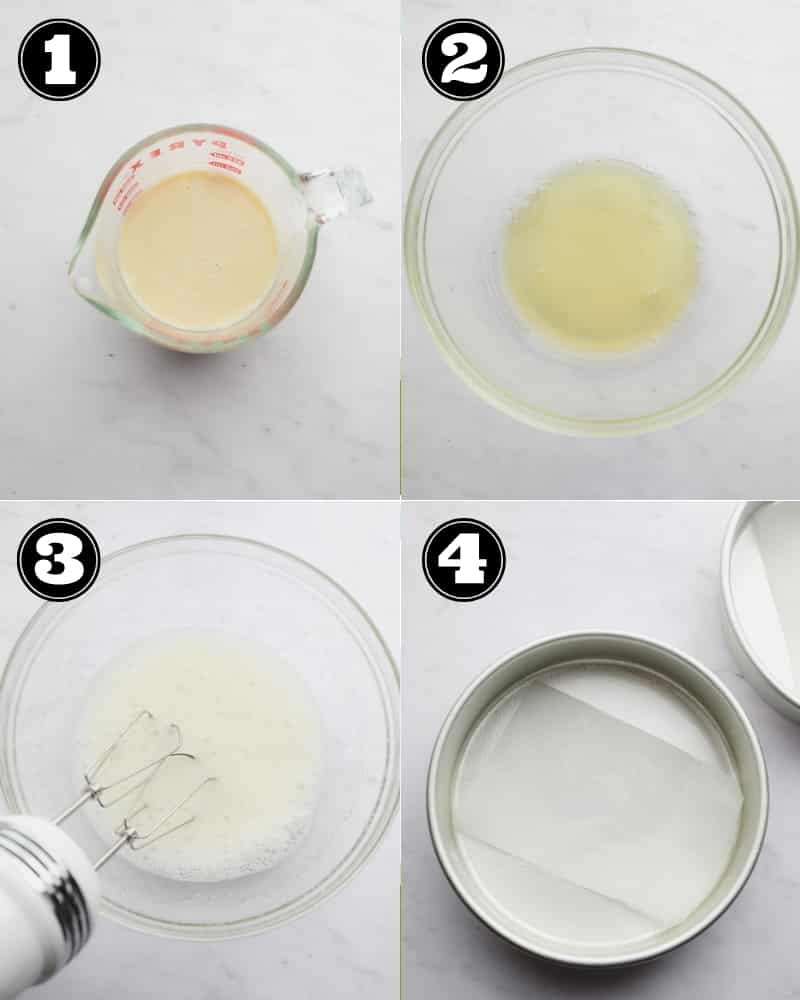 collage showing steps for making vegan lemon cake