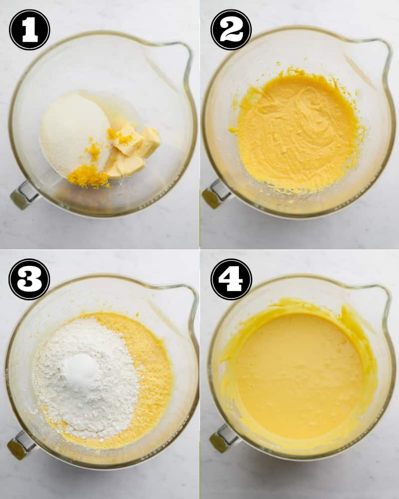 collage of how to make cake batter