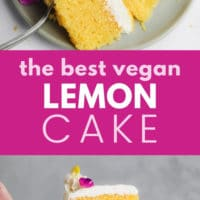 Pinterest collage with text for lemon cake that is vegan