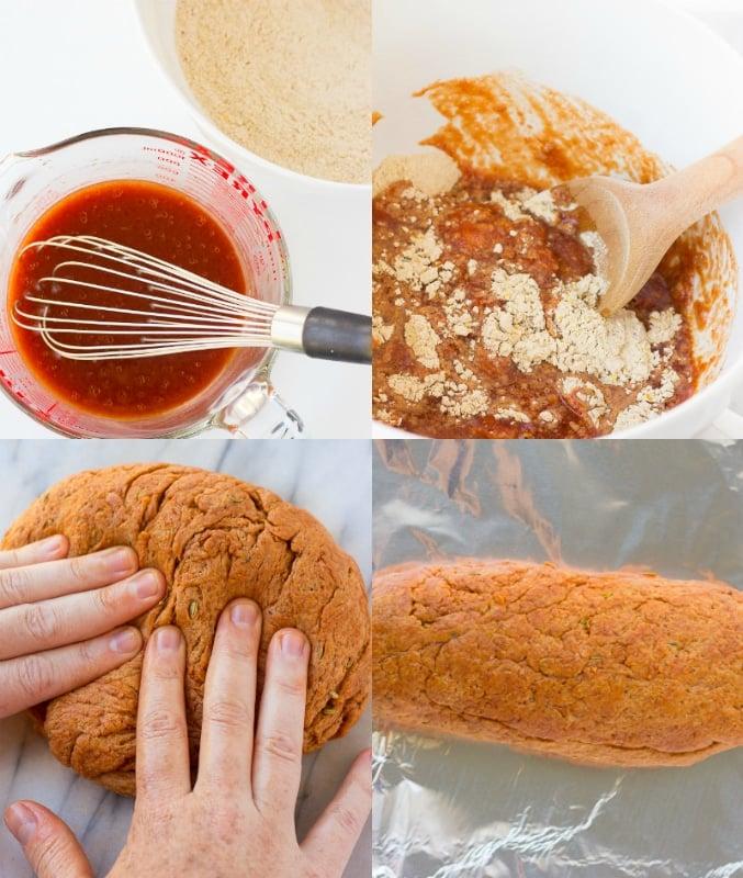 collage steps of making vegan pepperoni