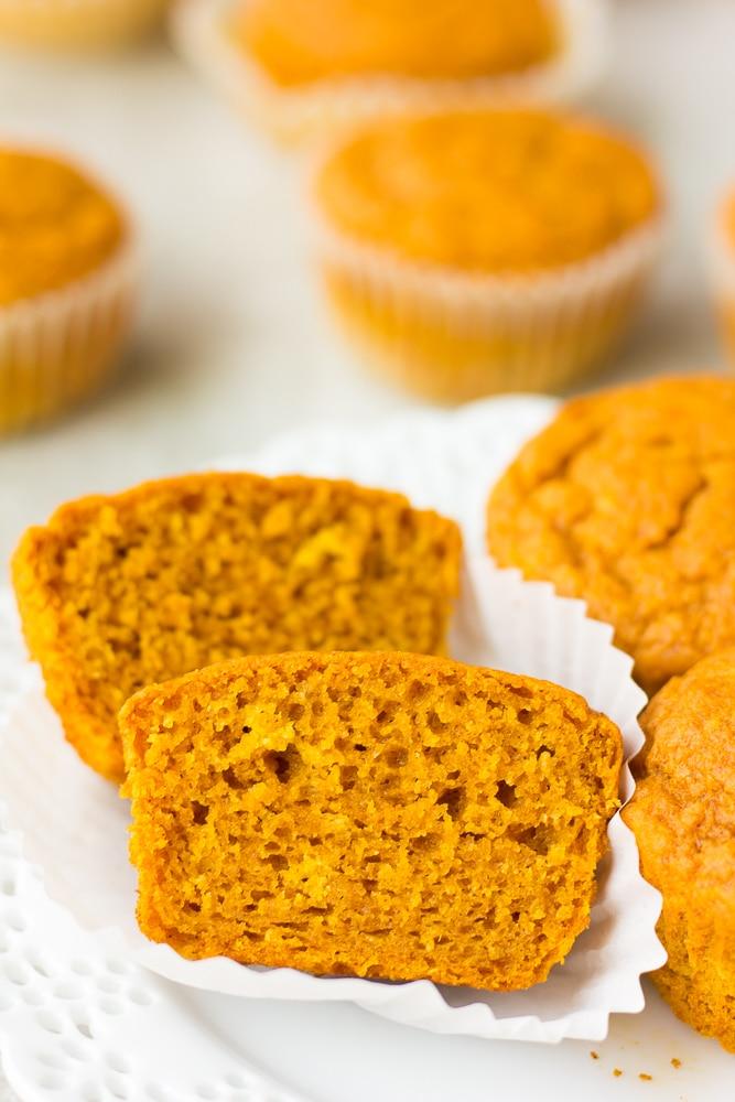 a cut open vegan pumpkin muffin
