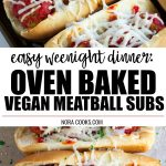 pinterest collage of vegan meatball subs