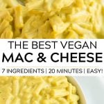 pinterest collage for vegan mac and cheese with text.