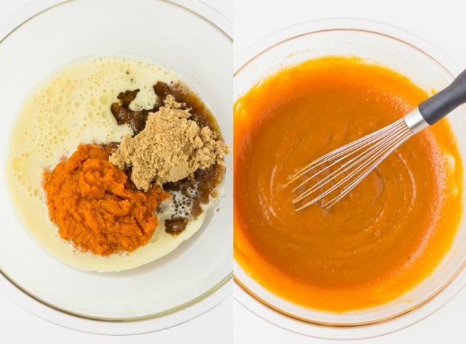 collage of making vegan pumpkin muffins