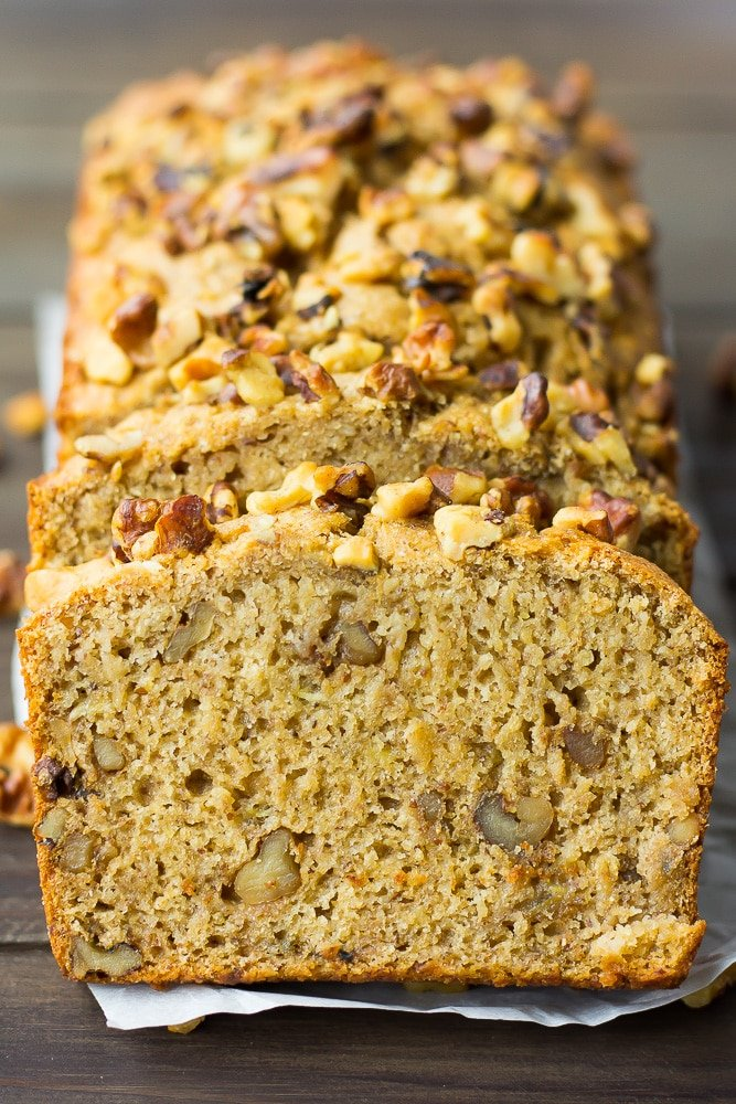 close up of front of a slice of vegan banana bread