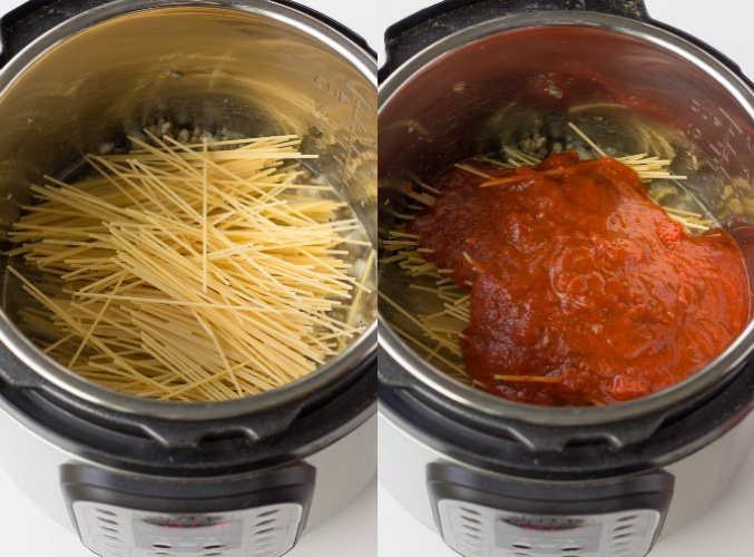 collage of how to make instant pot spaghetti